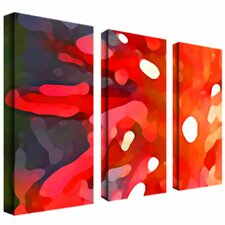 """Red Sun"" by Amy Vangsgard Painting Print 3 Panel Art Set"