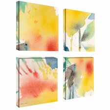 Yellow by Sheila Golden 4 Piece Painting Print on Wrapped Canvas Set