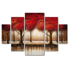 """Parade of Red Trees"" by Rio 5 Piece Painting Print Set"