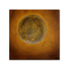 """""""Moon on Yellow"""" by Nicole Dietz Painting Print on Wrapped Canvas"""