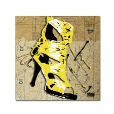"""""""Yellow Strap Boot"""" by Roderick Stevens Graphic Art on Wrapped Canvas"""