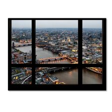 'Window View London at Dusk 2' by Philippe Hugonnard Photographic Print on Wrapped Canvas