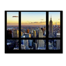 'Window View NYC Sunset 2' by Philippe Hugonnard Photographic Print on Wrapped Canvas