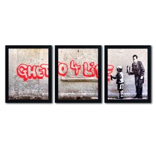 'Ghetto for Life' by Banksy 3 Piece Framed Graphic Art Set