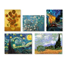 5 Piece Graphic Art by Vincent Van Gogh Painting Print on Wrapped Canvas Set