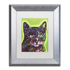 """""""Watchful Cat"""" by Dean Russo Matted Framed Painting Print"""