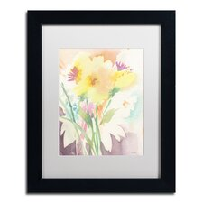 """""""Yellow Flower Blossoming"""" by Sheila Golden Matted Framed Painting Print"""