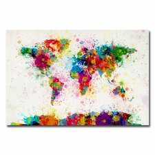 World Map Splashes Painting on Wrapped Canvas