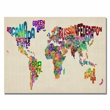 """Typography World Map II"" by Michael Tompsett Textual Art on Wrapped Canvas"