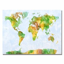 'Watercolor World Map III' by Michael Tompsett Graphic Art on Canvas