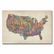 """US Cities Text Map"" by Michael Tompsett Graphic Art on Canvas"