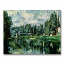 """""""The Banks of the Marne at Creteil"""" by Paul Cezanne Painting Print on Wrapped Canvas"""