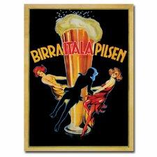 'Birra Itala Pilsen' Framed Vintage Advertisement on Wrapped Canvas