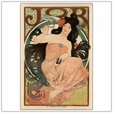 'Job' by Alphonse Mucha Framed Vintage Advertisement on Wrapped Canvas