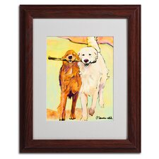 'Stick With Me 1' by Pat Saunders White Framed Painting Print on Canvas