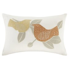 Palomas Embroidered Cotton Lumbar Pillow