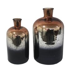 2 Piece 2 Tone SIlver Vase Set