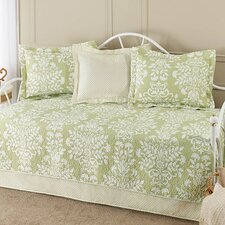 Rowland 5 Piece Daybed Quilt Set in Green & White