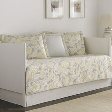 Joy 5 Piece Daybed Quilt Set in Gray & Yellow