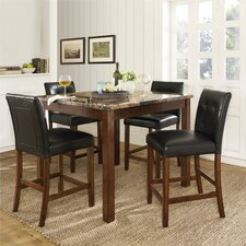 Andover Faux 5 Piece Marble Counter Height Dining Set