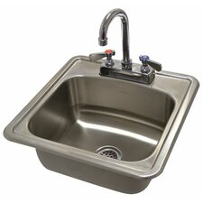 """304 Series 15"""" x 15"""" Single Seamless Bowl Drop-in Hand Sink with Faucet"""