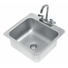 """304 Series 19"""" x 19"""" Single Seamless Bowl Drop-in Hand Sink with Faucet"""