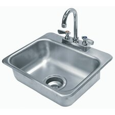 """304 Series 17"""" x 15"""" Single Seamless Bowl Drop-in Hand Sink with Faucet"""