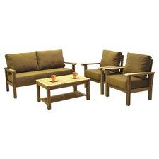Amazonia Teak San Marcos 4 Piece Deep Seating Group with Cushions