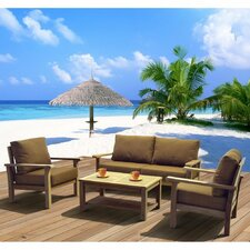 Amazonia Teak San Marcos 4 Piece Deep Seating Group with Cushions