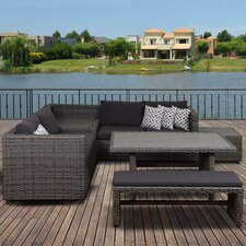 Atlantic Cameron 5 Piece Patio Dining Set with Cushions and Storage