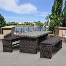 Atlantic Cameron Low Patio 3 Piece Dining Set with Cushion