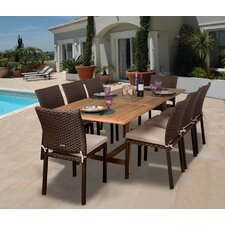 Amazonia Teak/Wicker Lens 9 Piece Dining Set with cushions