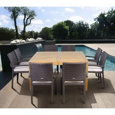 Amazonia Teak/Wicker Davenport 9 Piece Dining Set