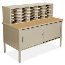 Mailroom 25 Adjustable Slot Literature Organizer with Cabinet
