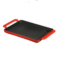 Chasseur 14-inch Rectangular French Enameled Cast Iron Grill Pan with Handles