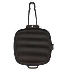 Chasseur 9-inch Square French Cast Iron Grill With Folding Handle