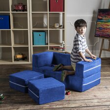 Zipline Modular Kids Loveseat with Ottomans