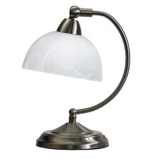 """Elegant Designs Mini Modern Bankers 11"""" H Table Lamp with Bowl Shade"""