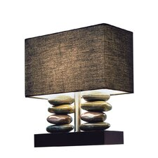 "Elegant Designs Dual Stacked Stone Ceramic 12.2"" H Table Lamp with Rectangular Shade"