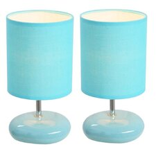 """Simple Designs Stonies 10.24"""" H Table Lamp with Drum Shade (Set of 2)"""