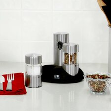Rechargeable 3 Piece Stainless Steel Salt & Pepper Grinder Set