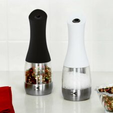 Kalorik Black and Whitre Electric Salt and Pepper Grinder Set