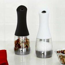 Kalorik Black and Whitre Electric Salt and Pepper Grinder Set