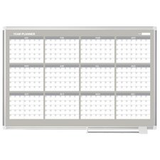 12 Month Calendar  Wall Mounted Magnetic Whiteboard, 3' H x 4' W