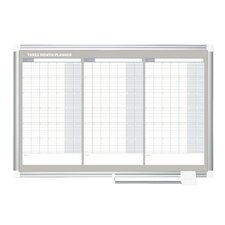 Ultra 3 Month Planner Traditional Format Wall Mounted Magnetic Whiteboard, 2' H x 3' W