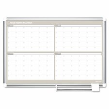 4 Month Calendar Wall Mounted Magnetic Whiteboard
