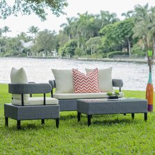 Biscayne Outdoor 4 Piece Lounge Seating Group with Cushion