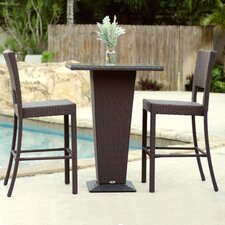Destin Synthetic Rattan 3 Piece Outdoor Dining Set
