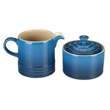 Stoneware 2 Piece Covered Sugar Bowl & Creamer Set