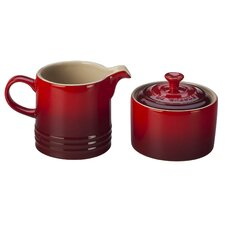 Stoneware 2 Piece Covered Sugar Bowl & Creamer Set